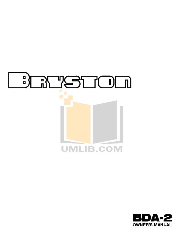 Download free pdf for Bryston C Series BP26 Amp manual